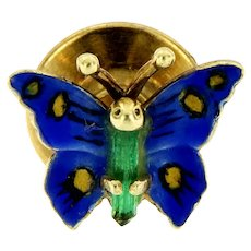 Vintage Enameled 14kt Gold Butterfly Pins