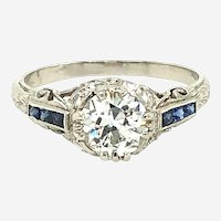 Gorgeous 1.04ct  Diamond & Sapphire Ring 14kt from 1960's
