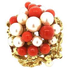 Vintage Cultured Pearl & Coral 18kt Gold Ring
