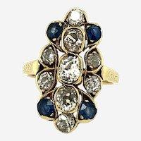 Vintage sapphire & diamond ring