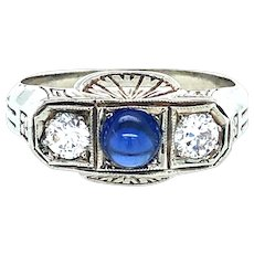 Vintage diamond & synthetic sapphire ring