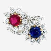 Moi Et Toi Ruby & Sapphire Diamonds Ring 18kt Gold