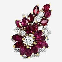 6 Carats Ruby & Diamond Cocktail Ring 14kt Gold