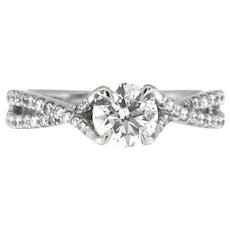 Round Diamond Designer Engagement Ring, 1.10 ctw in 14 kt White Gold