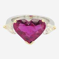 5.43 Carat Natural Ruby Heart shape AGL Cert. & 1.50 Carat Diamond Ring