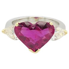 5.43 Carat Natural Ruby Heart shape AGL Cert. & 1.50 Carat Diamond Ring