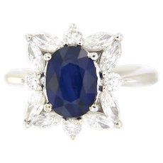 Madagascar 3.30 ct Natural Sapphire & 1.50 ct Diamonds 18kt Ring A.G.L. Certified.