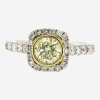 Vintage 1.75 Ct. Yellow Brilliant Cut Solitaire Diamond Ring 18K
