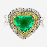 3.11 ct Emerald & Diamond 18kt Gold Heart Ring