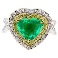 3.11 ct Emerald & Diamond 18kt Gold Heart Ring