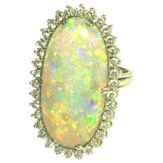 Vintage Black Crystal Opal & Diamonds Platinum Ring