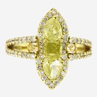 Exquisite 2.35 ctw Natural Yellow and White Diamond Ring, 18kt Yellow Gold