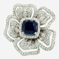 5.30 ct Square Sapphire & Diamond Ring in 18kt White Gold