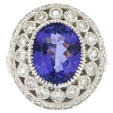 Estate Tanzanite and Diamond Ring, Circa 1990-2000