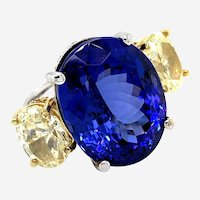 37.47cts Diamonds & Tanzanite Ring 18kt Gold