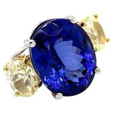 37.47cts Diamonds & Tanzanite Ring 18kt Gold