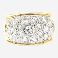 Vintage 2 ct Diamonds Wide Domed Band, 14kt 2 Tone