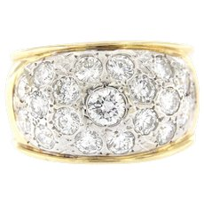 Vintage 2 ct Diamonds Wide Domed Band, 14kt 2 Tone