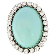 Vintage 1970's Natural 42.96 ct Turquoise & Diamonds Ring, G.I.A. Certified.