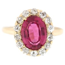 Antique 2 ct Ruby & 0.65 ct Old European Diamond Engagement Ring, Circa Early 1900