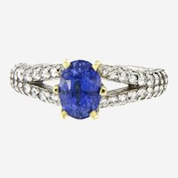 Natural Fine Sapphire & Diamonds Platinum 18kt Yellow Gold Ring