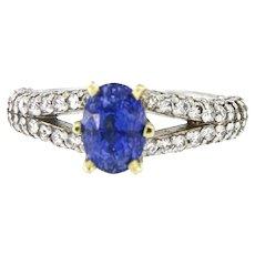 Natural Fine Sapphire & Diamonds Platinum 18kt Yellow Gold Ring