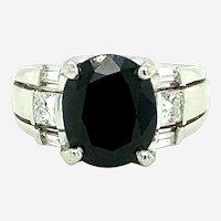 5.79 ct Platinum Diamond & Sapphire Ring Circa 1970