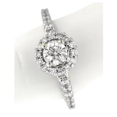 Contemporary 1 ctw Diamonds Engagement Ring in 14 kt White Gold