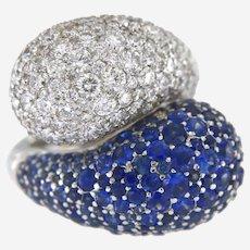 Contemporary 17 ct tw. Diamond & Sapphires 18k gold Ring