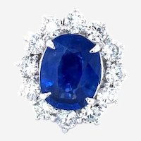 Rare Blue Sapphire 5.91 ct Burma No Heat & 2.40 ct Diamonds Ring, AGL Certified.