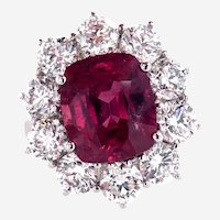 Fine Ruby and Diamond Ring, 7.56 ct.tw. in 18 kt White Gold