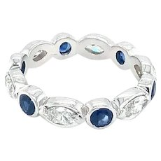 2 carat Diamond & Sapphires Eternity Band 18kt Gold