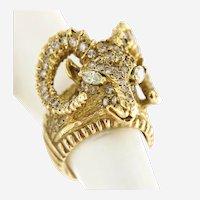 Vintage Rams Head Diamonds & Gold Ring, Circa 1960-70