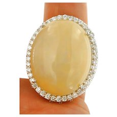 Huge 30 ct Opal 2.15 ct Diamonds Ring, 14kt White Gold