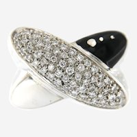 La Nouvelle Bague 18k Gold Diamond Enamel Criss Cross Ring