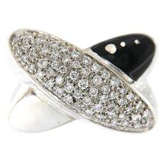 La Nouvelle Bague 18k Gold Diamond Enamel Criss Cross Ring