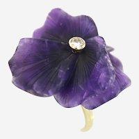 Vintage Lotus Flower Amethyst & Diamond Ring, 14k Gold