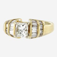 Vintage 2.04 Ctw Diamond 18kt Yellow Gold Engagement Ring