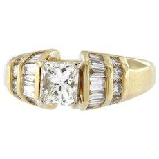 Vintage 2.04 Ctw Diamond 18kt Yellow Gold Engagement Ring