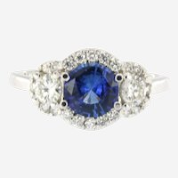 Opulent Blue Sapphire Diamond Engagement Ring