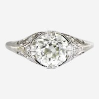 Art Deco 2.06 ct Old European Cut Certified Diamond Platinum Engagement Ring