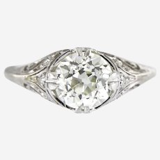 Art Deco 2.06 ct Old European Cut Certified Diamond Platinum Engagement Ring