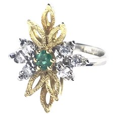 Vintage 14kt Gold Diamond Emerald Cocktail Ring