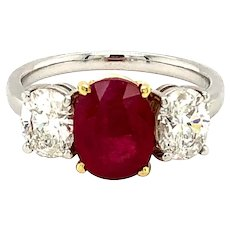 2.23ct Burma Ruby & Diamond Ring 18kt Gold