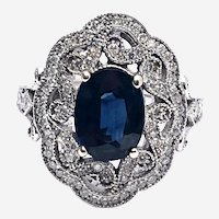 2.80 ct Blue Sapphire 0.85 ct Diamond Cocktail Ring