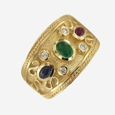 14 kt Gold Byzantine style Ruby, Sapphire, Emerald and Diamond Ring.
