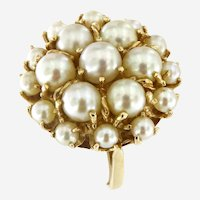 Vintage Pearl Cluster Ring in 14 kt Gold, Certified, Circa 1940-50
