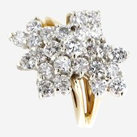 Vintage 1.60 ct Diamond Cluster Ring in 14 kt Gold