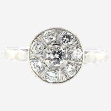 Retro 1 ct Diamond Ring in 14k White Gold