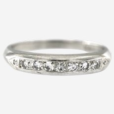 Vintage Slender Platinum Diamond Band, Circa Art Deco
